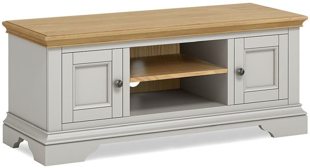Global Home Chester Large TV Unit - Oak and Soft Grey Painted