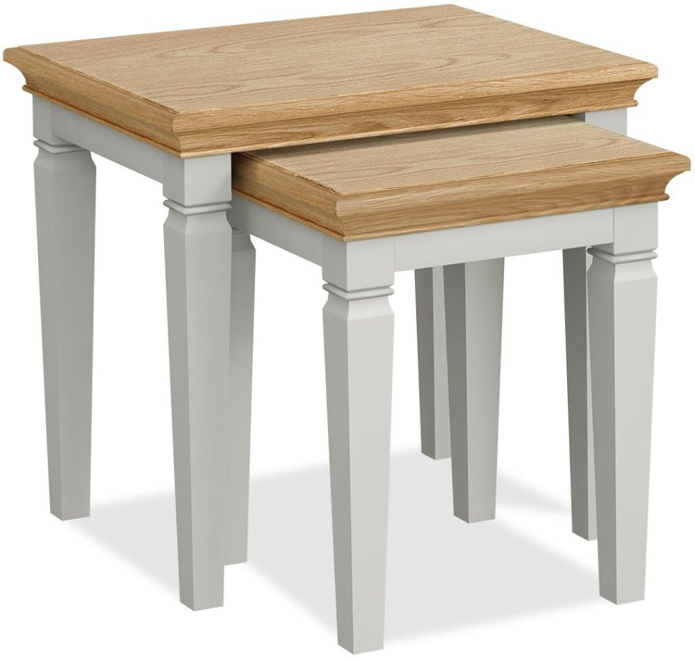 Global Home Chester Oak and Soft Grey Painted Nest of Tables