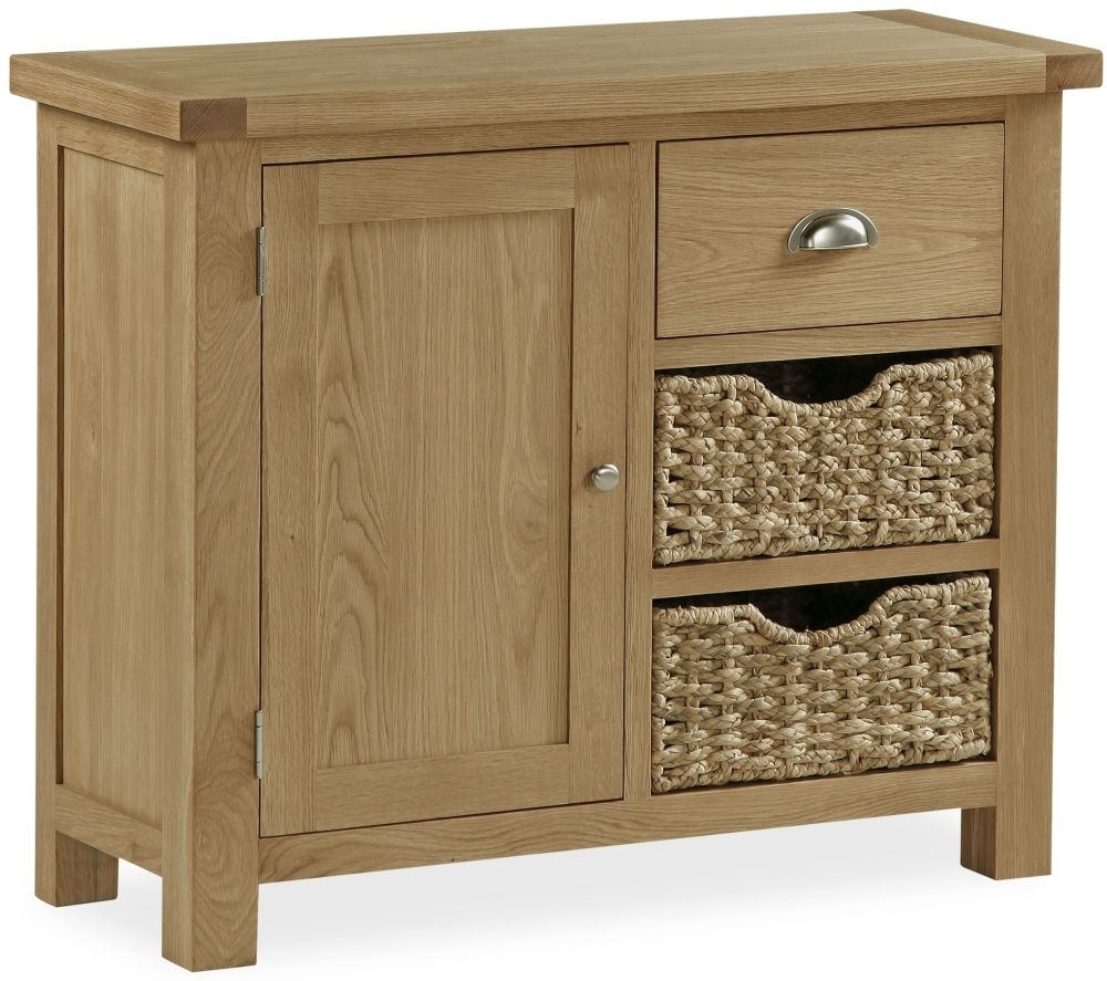 Clearance Global Home Cheltenham Oak Sideboard - Small with Baskets - G429
