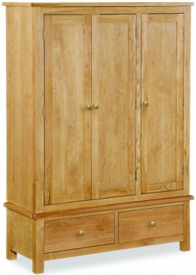 Global Home Cork Lite Oak 3 Door 2 Drawer Wardrobe