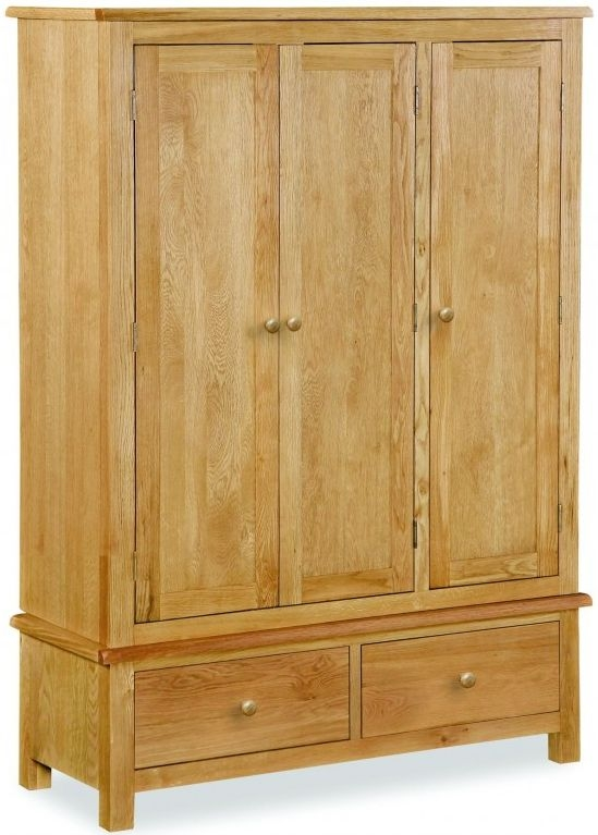 Global Home Cork Lite Oak Triple Wardrobe - 3 Door 2 Drawer