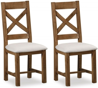 Global Home Cortona Cross Back Dining Chair with Fabric Seat (Pair)