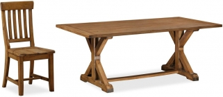 Global Home Cortona Oak Trestle Dining Set with 6 Chairs