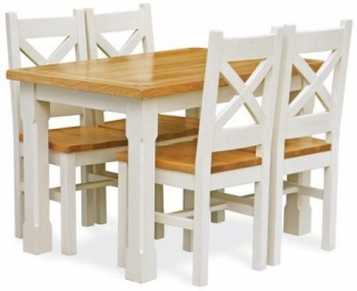 Global Home Cuisine Painted Dining Set - 120cm with 4 Chairs
