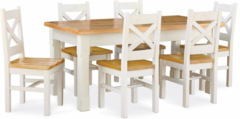 Global Home Cuisine Painted Dining Set - Small Extending with 6 Chairs
