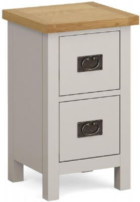 Global Home Devon Oak and Soft Cotton Painted Slim 2 Drawer Bedside Cabinet