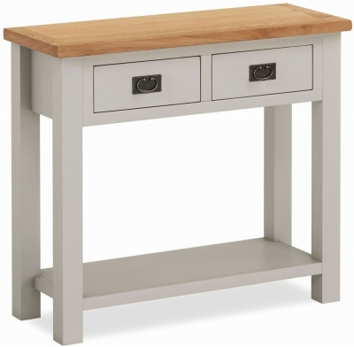 Global Home Devon Oak and Soft Cotton Painted Console Table