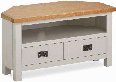 Global Home Devon Oak and Soft Cotton Painted Corner TV Unit