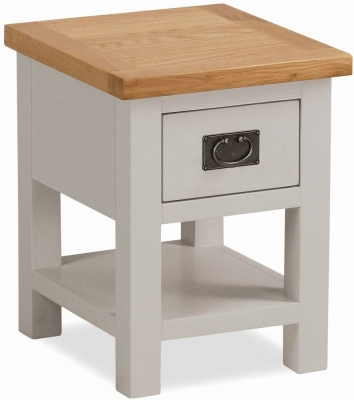 Global Home Devon Oak and Soft Cotton Painted Lamp Table