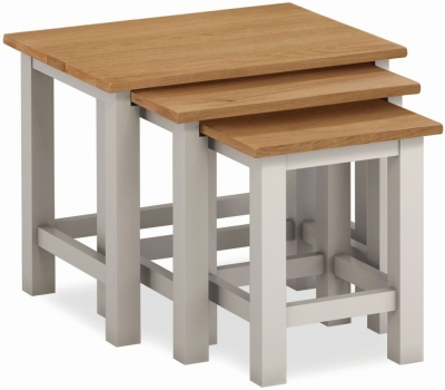 Global Home Devon Oak and Soft Cotton Painted Nest of Tables