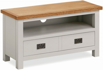 Global Home Devon Oak and Soft Cotton Painted Small TV Unit