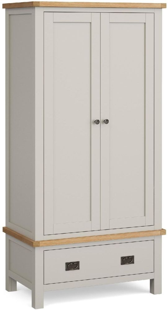 Global Home Devon 2 Door 1 Drawer Wardrobe - Oak and Soft Cotton Painted