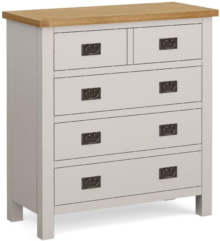 Global Home Devon 3+2 Drawer Chest - Oak and Soft Cotton Painted