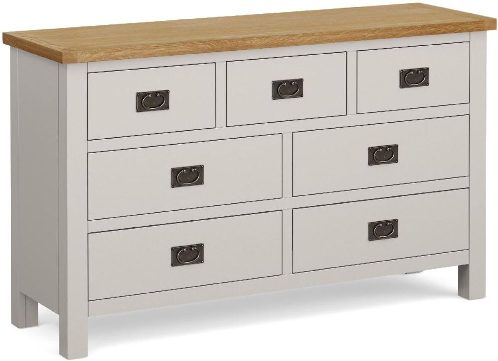 Global Home Devon 3+4 Drawer Chest - Oak and Soft Cotton Painted