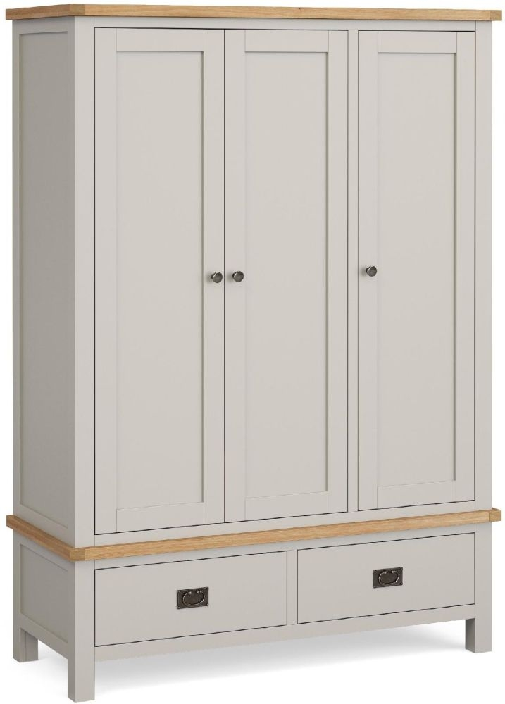 Global Home Devon 3 Door 2 Drawer Wardrobe - Oak and Soft Cotton Painted