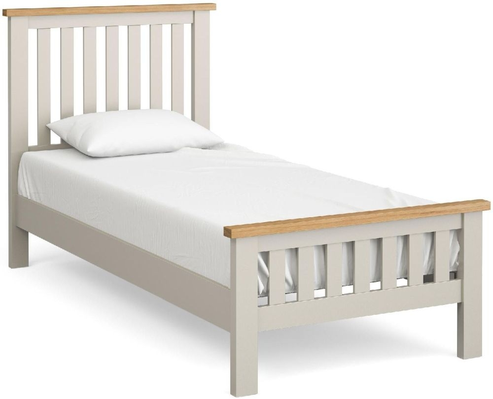 Global Home Devon 3ft Single Slatted Bed - Oak and Soft Cotton Painted