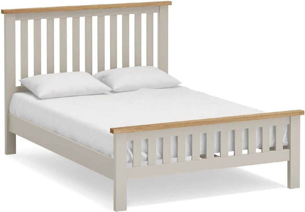 Global Home Devon 4ft 6in Double Slatted Bed - Oak and Soft Cotton Painted