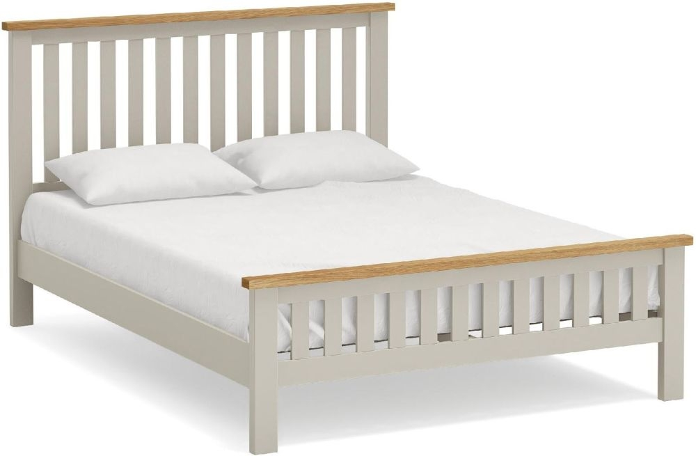 Global Home Devon 5ft King Slatted Bed - Oak and Soft Cotton Painted