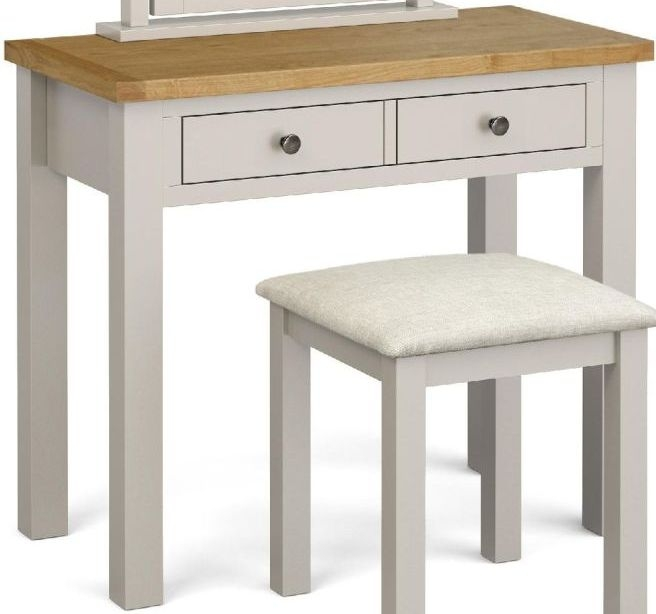 Global Home Devon Dressing Table - Oak and Soft Cotton Painted