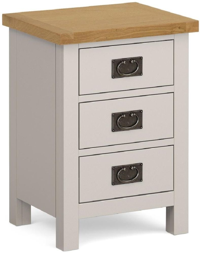 Global Home Devon Large Bedside Cabinet - Oak and Soft Cotton Painted