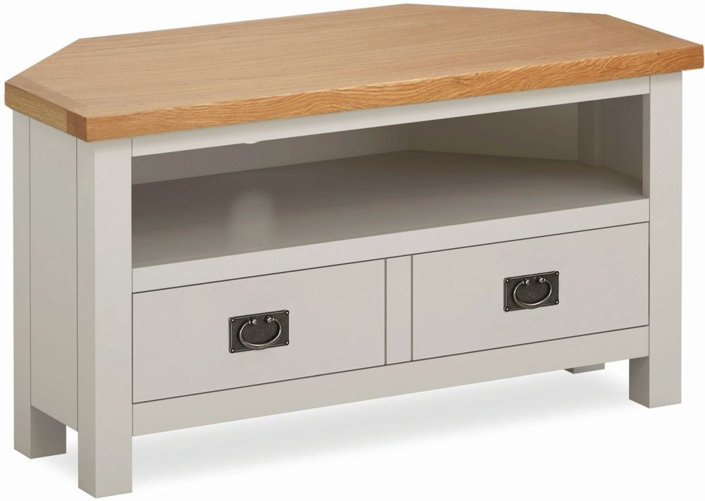 Global Home Devon Corner TV Unit - Oak and Soft Cotton Painted