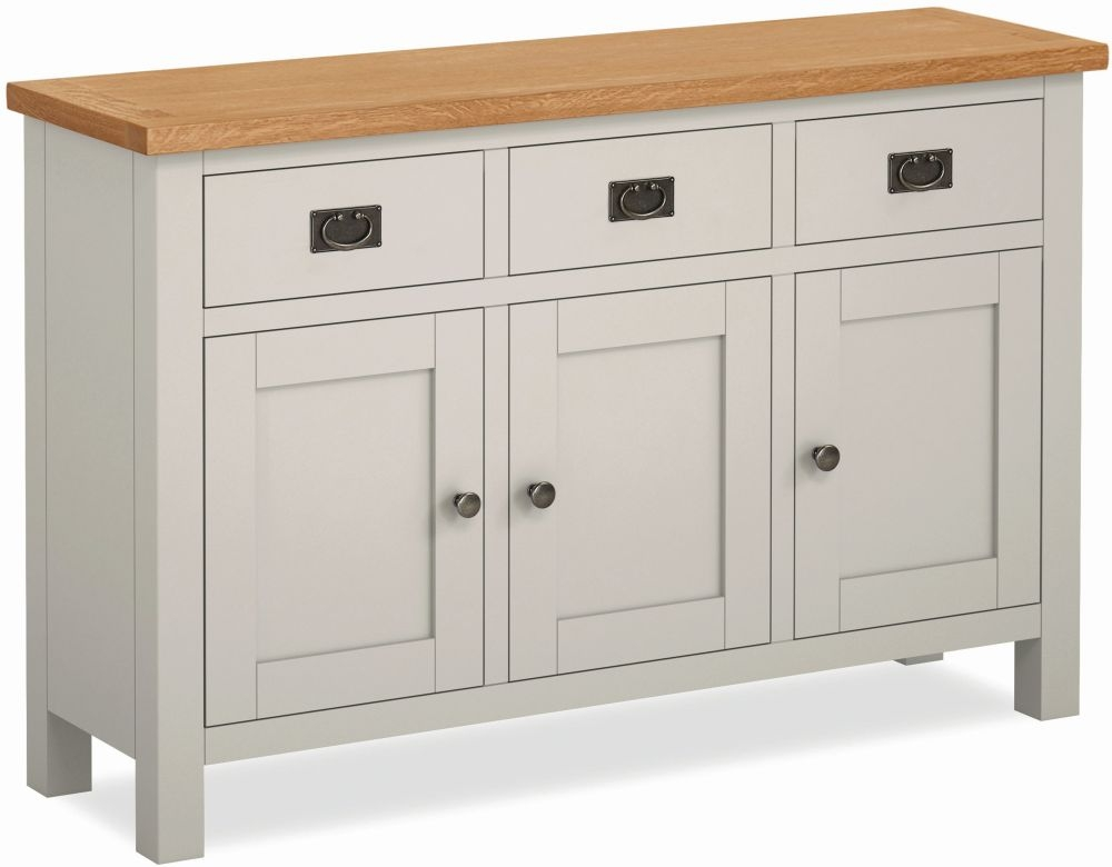 Global Home Devon Large Sideboard - Oak and Soft Cotton Painted