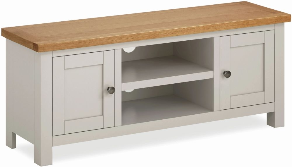 Global Home Devon Large TV Unit - Oak and Soft Cotton Painted
