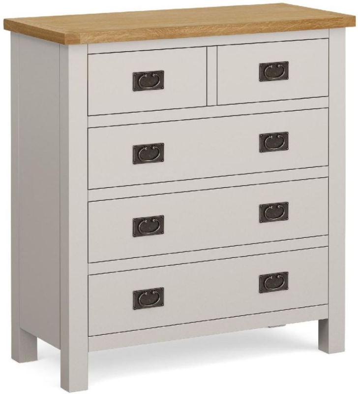 Global Home Devon Oak and Soft Cotton Painted 3+2 Drawer Chest