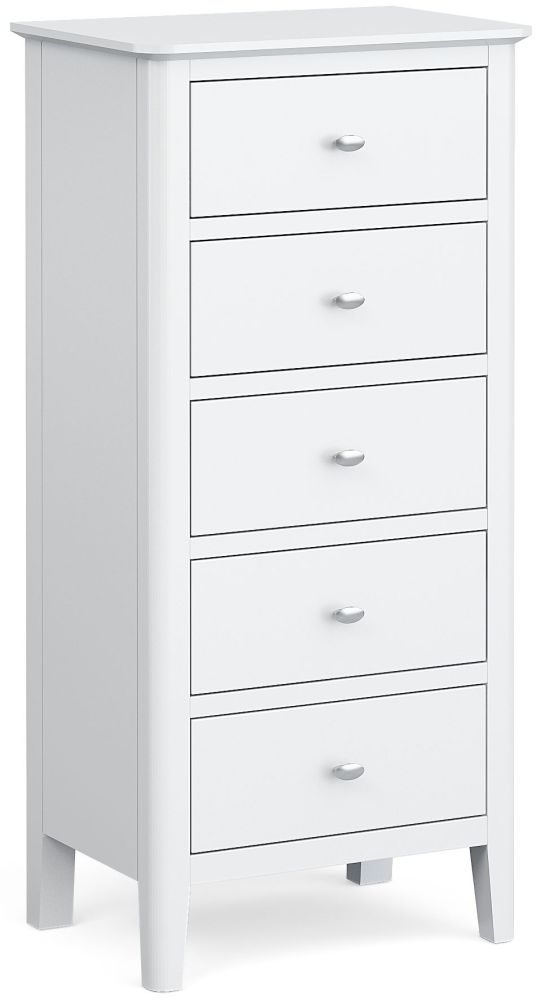 Global Home Hampstead White 5 Drawer Tallboy Chest