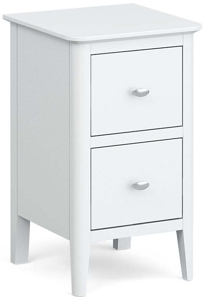 Global Home Hampstead White Narrow 2 Drawer Bedside Cabinet