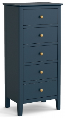 Global Home Harrogate Blue Painted 5 Drawer Tallboy Chest