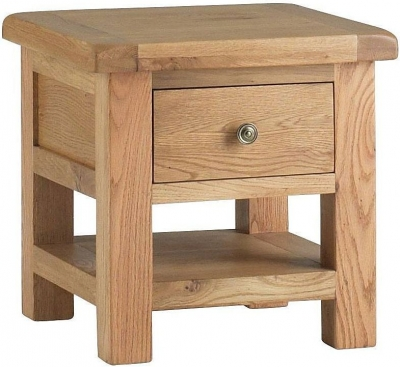 Global Home Lovell Oak Lamp Table with Drawer