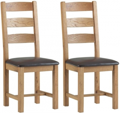 Global Home Lovell Oak Slatted Dining Chair with Faux Leather Seat (Pair)