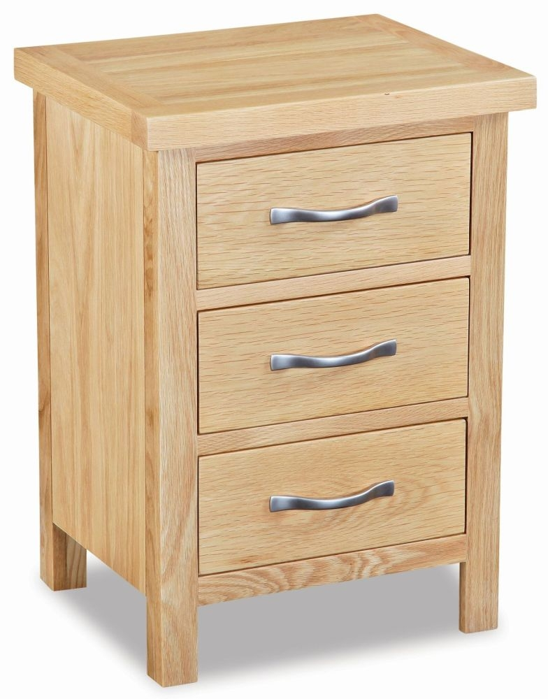 Global Home New Trinity Oak 3 Drawer Bedside Cabinet