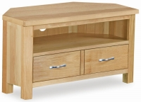 Global Home New Trinity Oak 2 Drawer Corner Media Stand