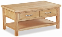 Global Home New Trinity Oak 2 Drawer Storage Coffee Table