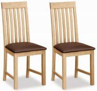 Global Home New Trinity Oak Slatted Back Dining Chair (Pair)