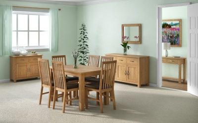 Global Home New Trinity Oak Rectangular Extending Dining Set with 4 Slatted Back Chairs - 120cm-165cm