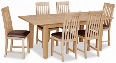 Global Home New Trinity Oak Rectangular Extending Dining Set with 6 Slatted Back Chairs - 150cm-195cm