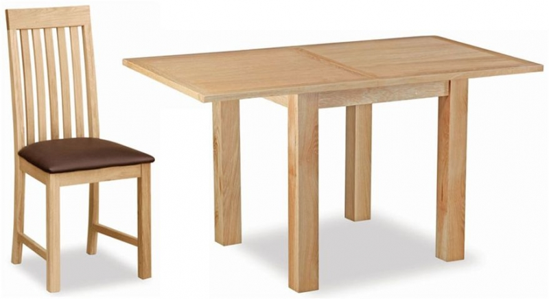 Global Home New Trinity Oak Square Extending Dining Set with 4 Slatted Back Chairs - 85cm-170cm