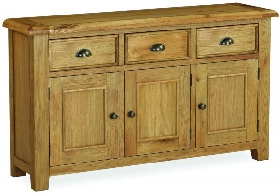 Global Home Odyssey Oak 3 Door 3 Drawer Wide Sideboard