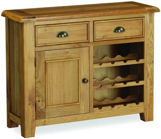 Global Home Odyssey Oak 1 Door 2 Drawer Wine Cabinet