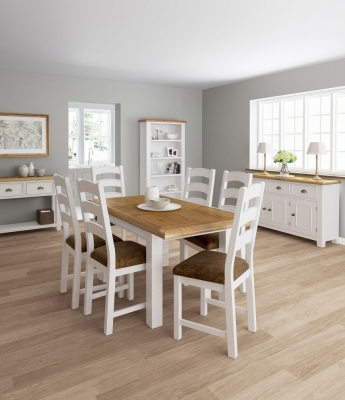 Global Home Odyssey Painted Rectangular Extending Dining Set with 6 Fabric Chairs - 160cm-210cm