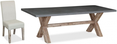 Global Home Rockhampton Oak Rectangular Dining Set with 6 Rockhampton Upholstered Chairs - 190cm