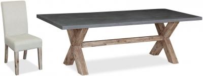 Global Home Rockhampton Oak Rectangular Dining Set with 6 Rockhampton Upholstered Chairs - 230cm