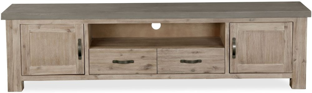 Global Home Rockhampton Large Low Line TV Unit - Oak and Clear Glaze