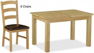 Global Home Salisbury Lite Oak Dining Set - Compact Extending with 6 Chairs