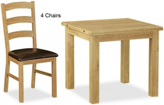 Global Home Salisbury Lite Oak Dining Set - 85cm-170cm Square Extending with 4 Chairs