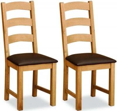 Global Home Salisbury Lite Oak Ladder Dining Chair (Pair)