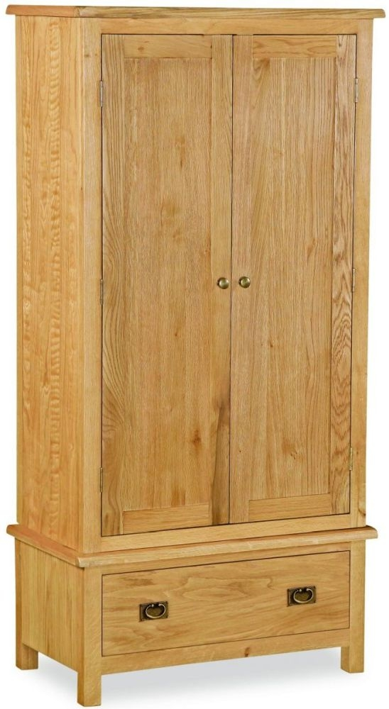 Global Home Salisbury Lite Oak 2 Door 1 Drawer Wardrobe
